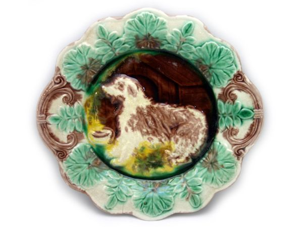 Antique Majolica Plate With Dog Motif
