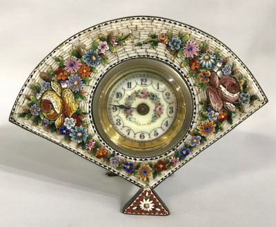 Antique Micro Mosaic Desk Clock, Made In Italy