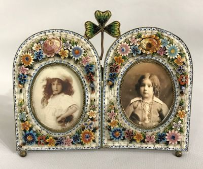 Antique Micro Mosaic Double Picture Frame, Made In Italy