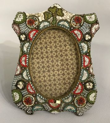 Antique Micro Mosaic Picture Frame  Made In Italy 2