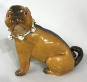 Antique Porcelain Pug Dog Figure
