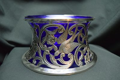 Antique Repouss   and Engraved Irish Silver Dish Ring with Blue Glass Liner  Dublin 1914