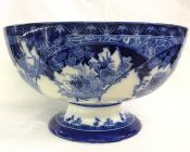 Antique Royal Doulton Flow Blue Pedestal Bowl