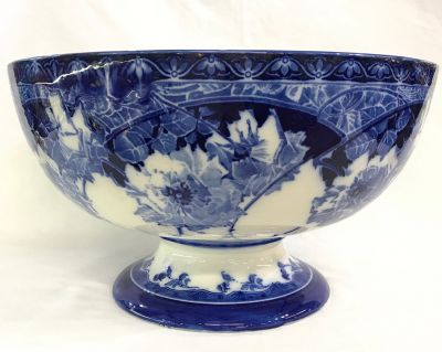 Antique Royal Doulton Flow Blue Pedestal Bowl 3
