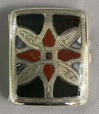 Antique Scottish Pebble Hardstone Cigarette Case 4aa