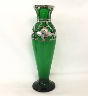 Antique Silver Overlay Green Glass Vase 22