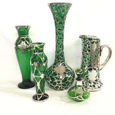 Antique Silver Overlay on Green Glass