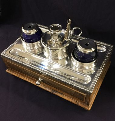 Antique Silver plate inkwell  on inlaid wood box 2