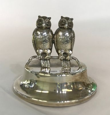 Antique Sterling Silver Double Owl Form Place Card Holder