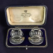 Antique Sterling Silver Place Card Holders In The Original Presentation Box