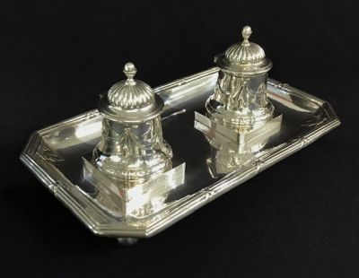 Antique Swedish Neo-Classical Silver Double Inkwell On Stand 4