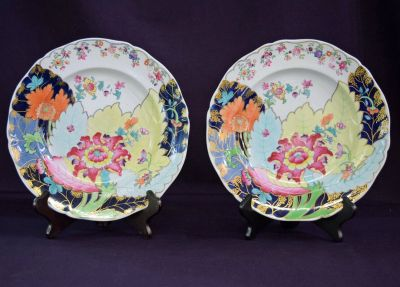Antique Tobacco Leaf Dinner Plates