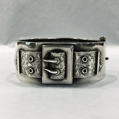 Antique Victorian sterling silver hand engraved buckle motif hinged bracelet a