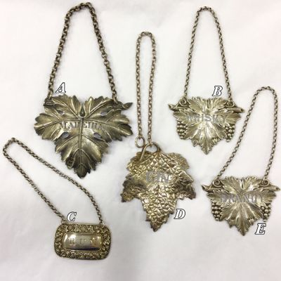 Antique   Vintage Sterling Silver Liquor Tags