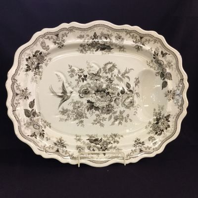 Antique brown and white transfer ware well and tree platter 3