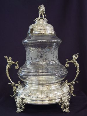 Antique covered punch bowl d