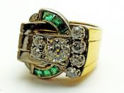 Art Deco Diamond and Emerald Buckle Ring