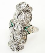 Art Deco Diamond and Synthetic Emerald Ring
