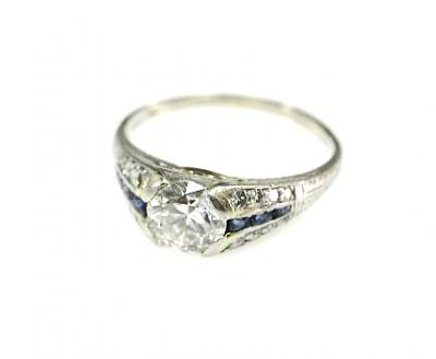 Art Deco Diamond and Synthetic Sapphire Engagement Ring