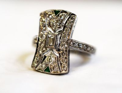 Art Deco Inspired Diamond and Emerald Ring