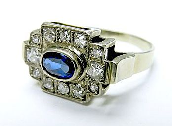 3a19a9c69 Art Deco Sapphire and Diamond Ring