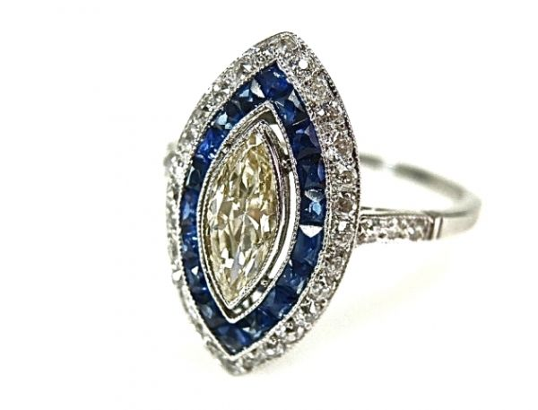 Art Deco Style Marquise Diamond And Sapphire Ring