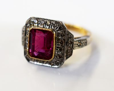 Art Deco Style Pink Tourmaline and Diamond Ring