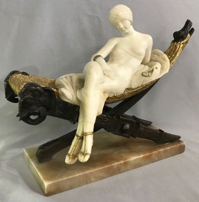 Art Deco Alabaster Sculpture of a Woman