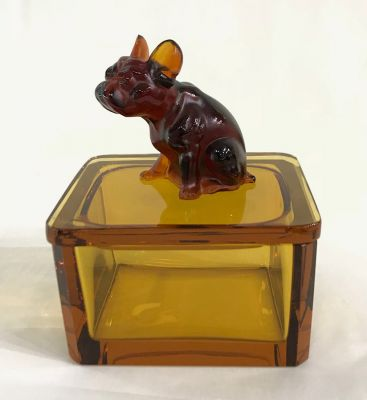 Art Deco Amber Glass Dresser Box With a French Bulldog Finial 3