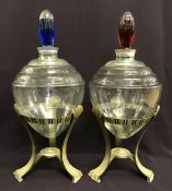 Art Deco Apothecary Jars With Original Stands
