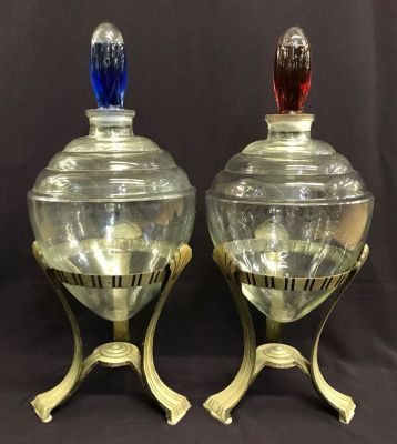 Art Deco Apothecary Jars With Original Stands zz