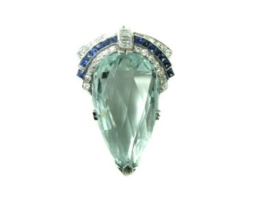 Art Deco Aquamarine Brooch