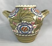 Art Deco Charlotte Rhead Art Pottery Two Handled Vase