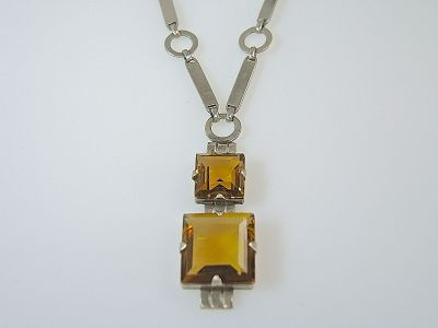 Art Deco Citrine Necklace CFA140627