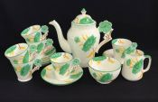 Art Deco Hand Painted English Bone China Coffee Set