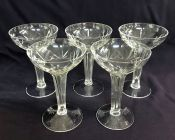 Art Deco Hollow Stem Crystal Champagne Coupes