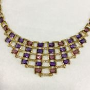 Art Deco Inspired Multi Gemstone Necklace