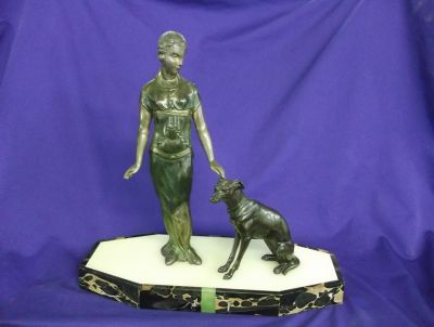 Art Deco Lady and Dog  Unsigned1
