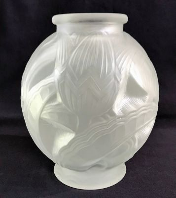 Art Deco Satin Finish Glass Vase of Stylized Lotus Flowers