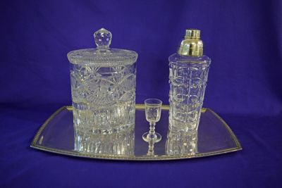 Art Deco Silver Plate Tray  Silver Plate and Crystal Cocktail Shaker  Liqueur Glass  and Etched and Pressed Crystal Biscuit Barrel