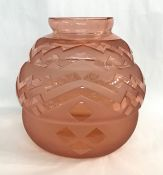 Art Deco Spherical Pink Glass Vase