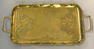 Art Nouveau Brass Tray  English  c