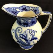 Art Nouveau Flow Blue Earthenware Water Jug