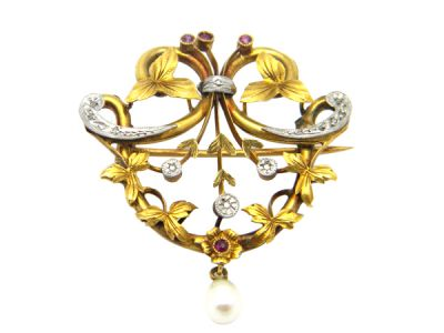 Art Nouveau Yellow Gold and Platinum Pearl  Diamond and Ruby Brooch PlPi001 1 61746