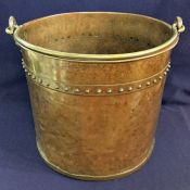 Arts & Crafts Hammered and Riveted Brass and Copper Coal Scuttle