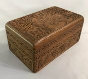 Arts & Crafts Carved Mahogany Box