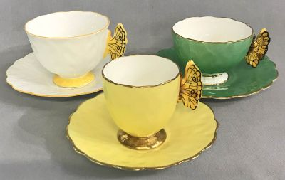 Aynsley Bone China Butterfly Handle Cups & Saucers