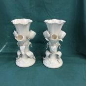 Belleek Triple Tulip Vases