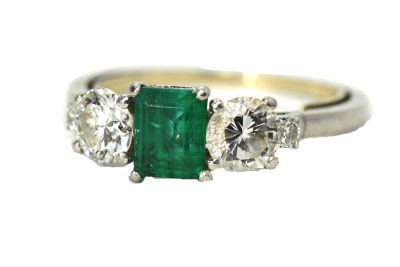 Birks Vintage Emerald and Diamond Ring
