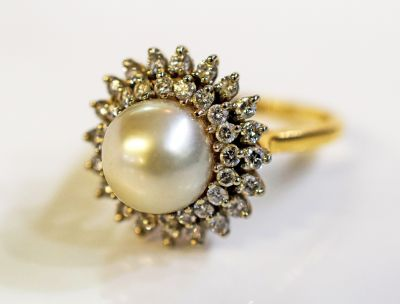 Birks Vintage Pearl and Diamond Ring